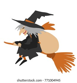 Simple flat illustration of an old witch flying on a broom smiling with a bag on her back. Befana celebration.