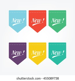 Simple Flat Label New Vector, You Can Using For Your Business And Your Product, 6 Color Different