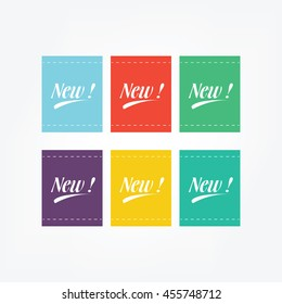 Simple Flat Label New Vector, You Can Using For Your Business And Your Product, 6 different color