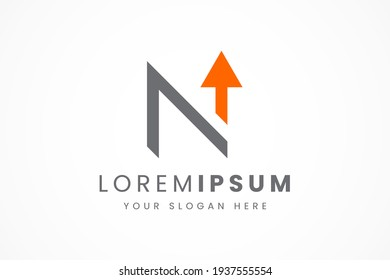 simple flat letter n logo arrow up