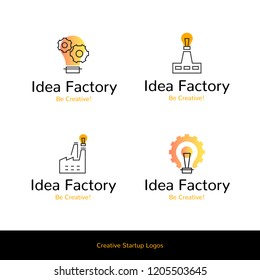 Simple flat line icons Idea Factory creative startup logos, web online concept. Logo of gear, cogwheel,i dea bulb, chimney, factory icon in different shapes and compositions