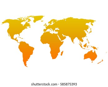 Simple flat Map of World. Orange silhouette vector illustration with gradient on white background.