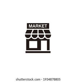 Simple Flat Market Icon Illustration Design, Silhouette Market Symbol Template Vector