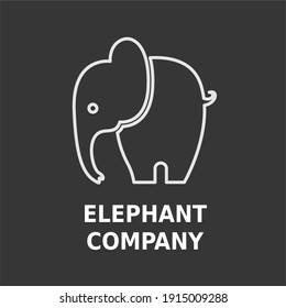 Simple Flat Minimalist Elephant Animal Logo Concept Vector Design. For Education, technology, store, business logo
