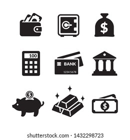 Simple flat minimalist icon set basic element of banking, financial and investment activities