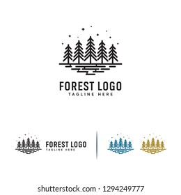 Simple Flat Pine Forest logo designs concept vector, Line Pine Tree logo template