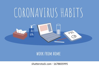Simple flat poster about saying to stay home during covid-19 outbreak and work remotely