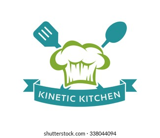 simple and flat restaurant logo vector kitchen logo badge with chef hat - Kitchen Logo
