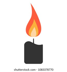 Simple, flat, small candle icon. Isolated on white