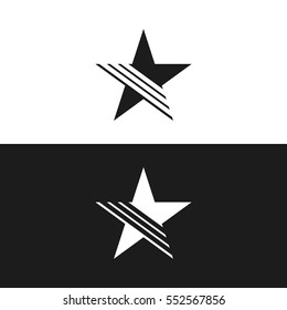 Simple Flat Star Logo with Line. Isolated.