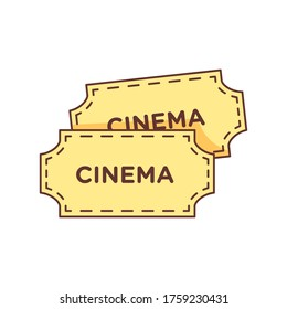 simple  flat style cinema ticket isolate on white blackground.