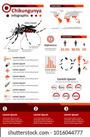 Simple flat style infographics components for health education poster about Chikungunya, infectious disease caused by CHIKV Alphavirus, which is mainly spread by Aedes mosquitoes.