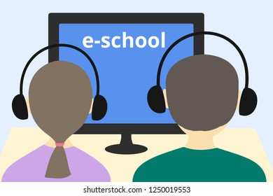 """Simple flat style vector illustration of boy and girl  studying remotely using a computer and wireless headphones. Text at monitor: """"e-school"""". E-learning concept."""