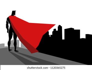 Simple flat vector graphic illustration of a superhero standing on the edge of high building