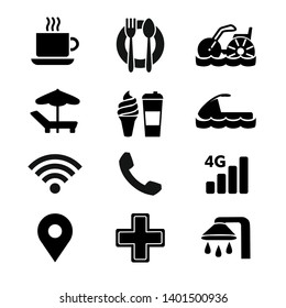 Simple flat vector icons set on white background. Transportation icons, Water Tricycle, Aqua cycle, Cup of coffee