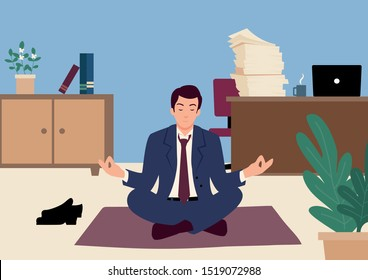 Simple flat vector illustration of a businessman doing yoga in office