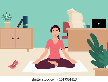 Simple flat vector illustration of a businesswoman doing yoga in office