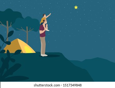 Simple flat vector illustration of father carrying his son on shoulder to grab star during camping night. Support, inspiration, aspiration concept