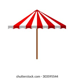 Simple flat white multiple red summer beach umbrella side view