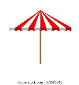 Simple flat white red summer beach umbrella side view