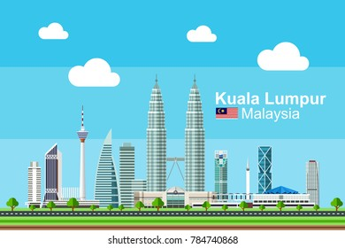 Simple flat-style illustration of Kuala Lumpur city in Malaysia and its landmarks. Famous buildings and landmarks included.