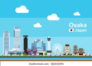 Simple flat-style illustration of Osaka city in Japan and its landmarks. Famous buildings and tourism objects included.