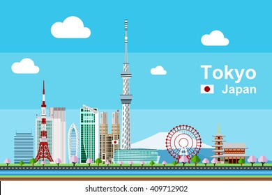 Simple flat-style illustration of Tokyo city in Japan and its landmarks. Famous buildings included such as Tokyo Tower, Sensoji temple, Daikanransha ferris wheel, and cities notable tall buildings.