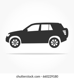 simple floating suv car icon viewed from the side colored in flat black with detailed rims and drop shadow
