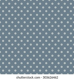 Simple floral background. Retro tiny white flowers on steel blue background, seamless vector pattern.