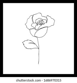 Simple floral continous line art. Minimalist botanical vector illustration. Great for invitation, greeting card, packages, wrapping, premade logo, business card, stationery, etc.