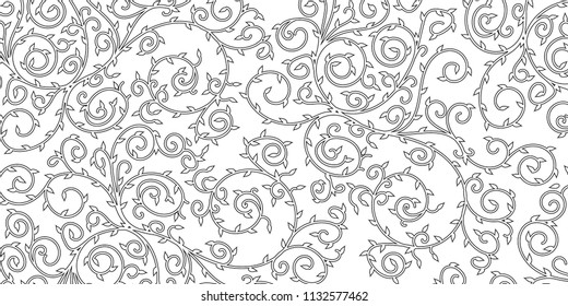 Simple floral design background. Black swirls and leaves.
