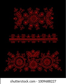 Simple floral embroidery design in ethnic style. One colour textile pattern.