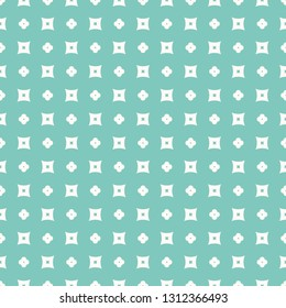 Simple floral geometric texture. Vector minimalist seamless pattern with tiny flowers, crosses, small squares. Turquoise and white color. Abstract minimal repeat background. Design for decor, textile