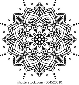Simple floral mandala, black on the white background