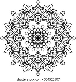 Simple floral mandala for design or mehendi