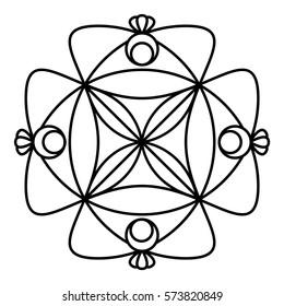Simple Floral Mandala Pattern Coloring Book Stock Vector (Royalty ...