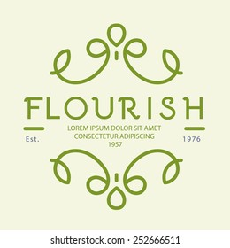 Simple floral monogram vector design template, Elegant line art logo design