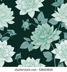 simple floral pattern, flower, chrysanthemum, aster flower, dark wallpaper, monochrome background