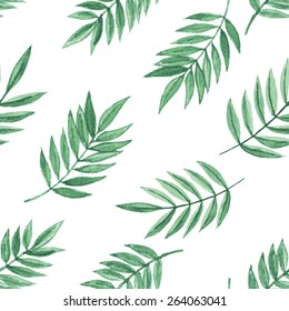 Simple floral seamless pattern with green leaves. Vectorized watercolor drawing.