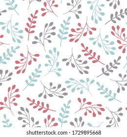 Simple floral vector pattern. Cute pastel colors. Simple shapes. Seamless botany texture. Minimalism style. Primitive leaves and flowers. Decorative textile ornament. Repeate background. Folk motifs.