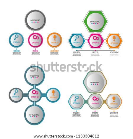 Simple Flowchart Infographic Data Template Diagram Stock Vector