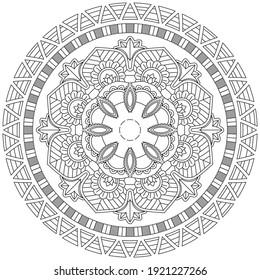Simple Flower Coloring Mandala Art Simple Mandala Shape Vector Floral Oriental Outline Flower Vintage Decorative Elements Pattern Illustration Islam Arabic Indian Turkish Mystic Ottoman Motifs Asian