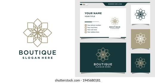 Simple flower logo design template with linear style and business card. Elegant logo design illustration and business card Premium Vector