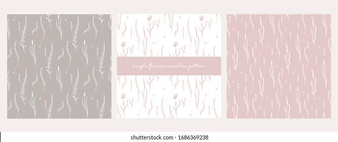 simple flowers seamless pattern, wildflowers, doodles, pastel colors