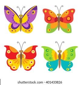 Simple Flying Butterfly Vector Set Icons. Colorful Cartoon Butterfly Set For Children.