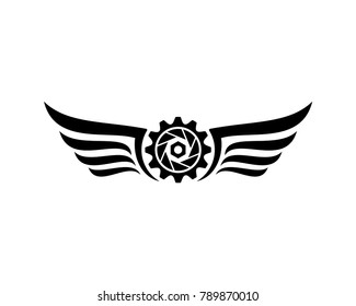 Simple Flying Double Wings with Gear Factory and Lens on the Camera Photography Symbol Modern Logo Vector