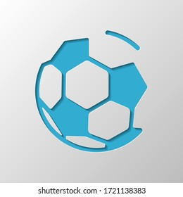 Simple football ball, sport logo. Paper design. Cutted symbol with shadow