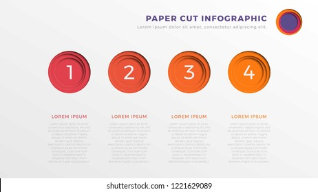 simple four steps infographic timeline template with round paper cut elements. business process diagram for brochure, banner, annual report and presentation. easy for edit and customize. eps10