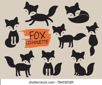 Simple fox silhouette vector illustration.