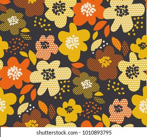 Simple free drawn floral seamless pattern. Retro 60s flower motif in fall orange and yellow colors. vector illustration.